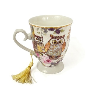 Delton Multicolored Porcelain Owl-themed Coffee Mug