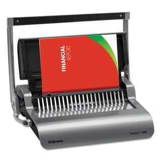 Fellowes Quasar Manual Comb Binding System 18 1/8 x 15 3/8 x 5 1/8 Metallic Grey