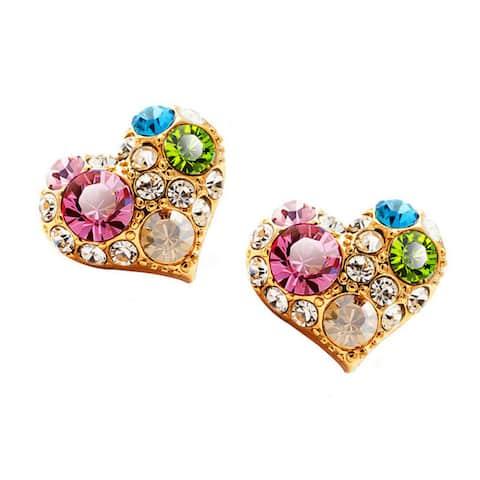 Multicolored Crystal Stud Earrings Heart Rectangle Shaped Earrings