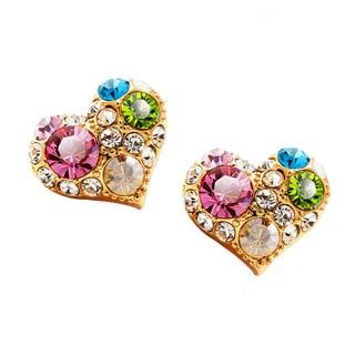 Heart Shaped Stud Earrings Multicrystals Rhinestones Gold