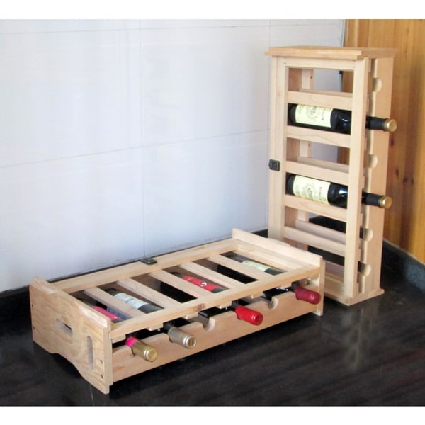 Merry Products Stacking Wooden Wine Organizer (Set of 2)