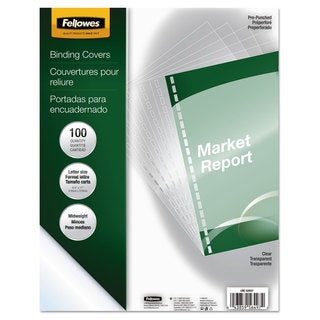 Fellowes Crystals Presentation Covers with Square Corner 11 x 8 1/2 Clear 100/Pack