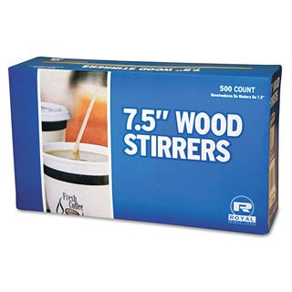 Royal Paper Wood Coffee Stirrers 7 1/2-inch Long Woodgrain 500 Stirrers/Box 10 Boxes/Carton