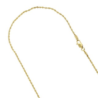 LUXURMAN 10k Yellow Gold 1.5mm Wide Sparkle Rope Hollow Chain Necklace with Lobster Clasp