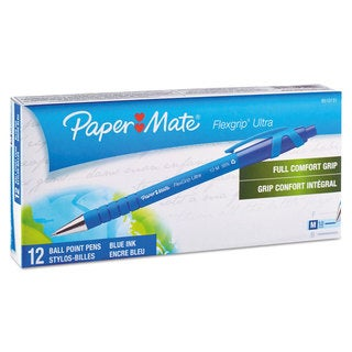 Paper Mate FlexGrip Ultra Recycled Ballpoint Retractable Pen Blue Ink Medium Dozen