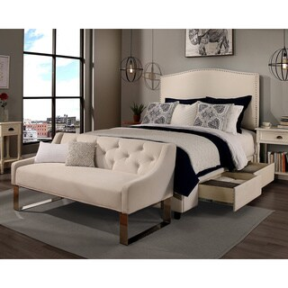Republic Design House King/Cal King Size Newport Ivory Headboard, Storage Bed and Tufted Sofa Bench Collection