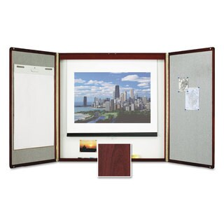 Quartet Marker Board Cabinet with Projection Screen 48 x 48 x 24 White/Mahogany Frame
