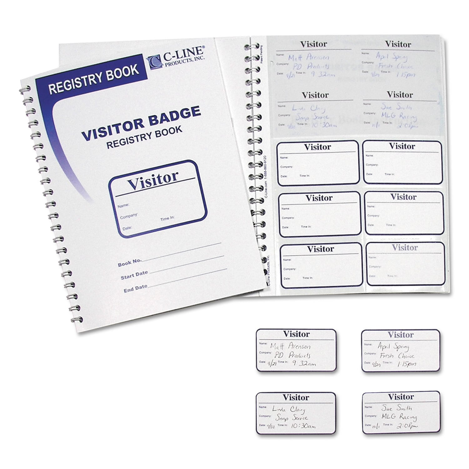 C-LINE Visitor Badges with Registry Log 3 1/2 x 2 White 1...