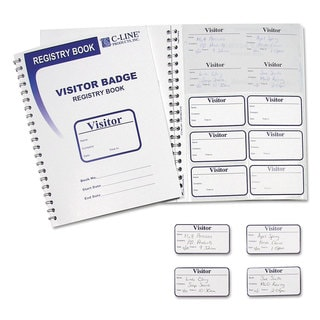 C-Line Visitor Badges with Registry Log 3 1/2 x 2 White 150/Box