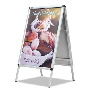 Quartet A-Frame Sign Aluminum 28 1/2-inch wide x 42-inch high Silver