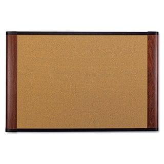 3M Cork Bulletin Board 48 x 36 Aluminum Frame with Mahogany Wood Grained Finish