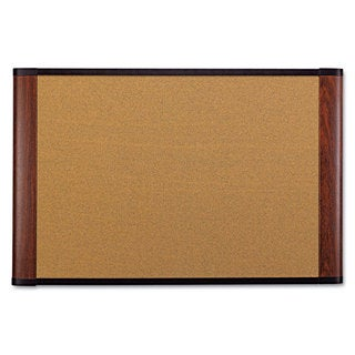 3M Cork Bulletin Board 48 x 36 Aluminum Frame with Mahogany Wood Grained Finish