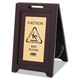 Rubbermaid Commercial Executive 2-Sided Multi-Lingual Caution Sign Brown/Brass 15 x 23 1/2