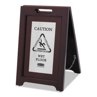 Rubbermaid Commercial Executive 2-Sided Multi-Lingual Caution Sign Brown/Stainless Steel 15 x 23 1/2