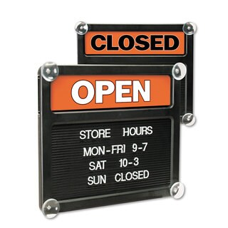Headline Sign Double-Sided Open/Closed Sign with Plastic Push Characters 14 3/8 x 12 3/8