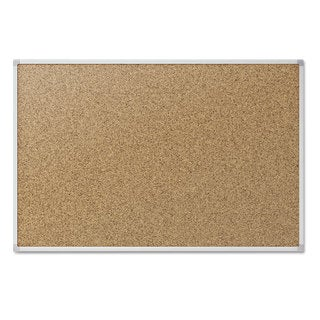 Mead Cork Bulletin Board 48 x 36 Silver Aluminum Frame
