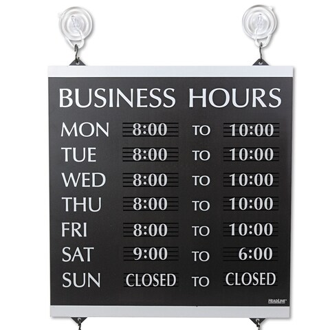 Headline Sign Century Series Business Hours Sign Heavy-Duty Plastic 13 x 14 Black