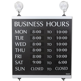Headline Sign Century Series Business Hours Sign Heavy-Duty Plastic 13 x 14 Black