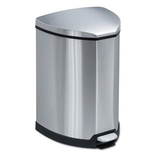 Safco Step-On Waste Receptacle Triangular Stainless Steel 4gal Chrome/Black