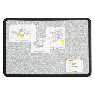 Quartet Contour Granite Grey Tack Board 36 x 24 Black Frame