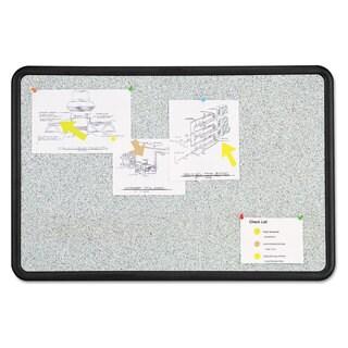 Quartet Contour Granite Grey Tack Board 48 x 36 Black Frame