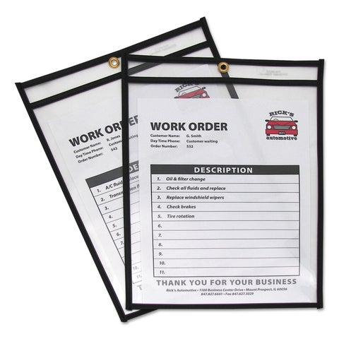 C-Line Shop Ticket Holders Stitched Both Sides Clear 75-inch 9 x 12 25/Box