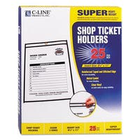 C-Line Shop Ticket Holders Stitched Both Sides Clear 50-inch 8 1/2 x 11 25/Box