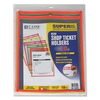 C-Line Stitched Shop Ticket Holder Neon Assorted 5 Colors 75-inch 9 x 12 10/Pack