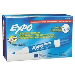 EXPO Low Odor Dry Erase Marker Bullet Tip Blue Dozen