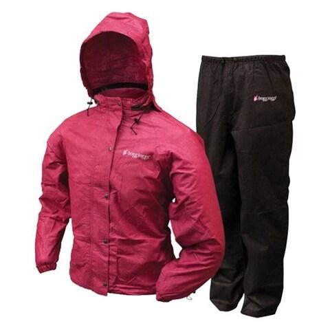 Frogg Toggs Women's Black and Cherry Plastic All-purpose Rain Suit