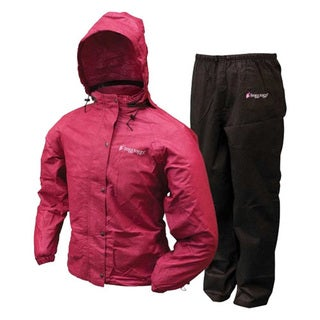 Frogg Toggs Women's Black and Cherry Plastic All-purpose Rain Suit