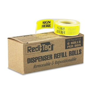 Redi-Tag Arrow Message Page Flag Refills -inchSign Here-inch Yellow 6 Rolls of 120 Flags