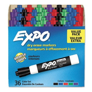 EXPO Low Odor Dry Erase Marker Chisel Tip Assorted 36/Box