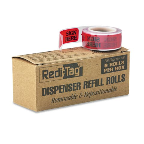 Redi-Tag Arrow Message Page Flag Refills -inchSign Here-inch Red 6 Rolls of 120 Flags/Box
