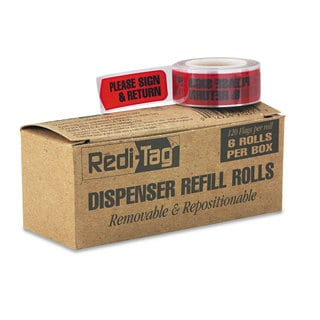 Redi-Tag Arrow Message Page Flag Refills -inchPlease Sign & Return-inch Red 120/Roll 6 Rolls