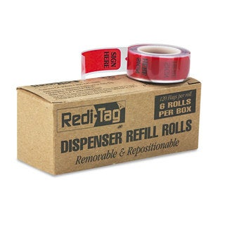 "Redi-Tag Arrow Message Page Flag Refills ""Sign Here"" 6 Rolls of 120 Flags/Box"
