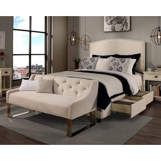 republic design house queen size newport ivory headboard storage bed and tufted sofa bench collection