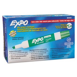 EXPO Low Odor Dry Erase Marker Chisel Tip Green Dozen