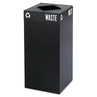 Safco Public Square Recycling Container Square Steel 31gal Black