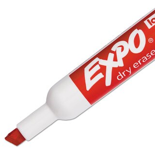 EXPO Low Odor Dry Erase Marker Chisel Tip Red Dozen