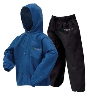 Frogg Toggs Kid's Polly Woggs Royal Blue/Black Large Rain Suit