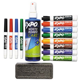 EXPO Low-Odor Dry Erase Marker Eraser & Cleaner Chisel/Fine 12/Set