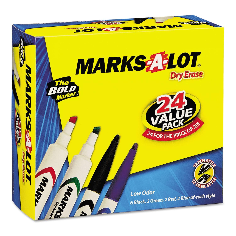 Marks-A-Lot Desk/Pen Style Combo Dry Erase Marker Chisel/...
