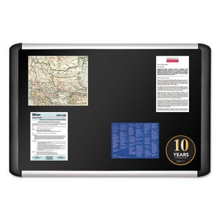 MasterVision Black fabric bulletin board 24 x 36 Silver/Black
