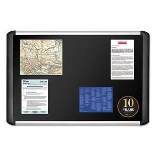 MasterVision Black fabric bulletin board 24 x 36 Silver/Black