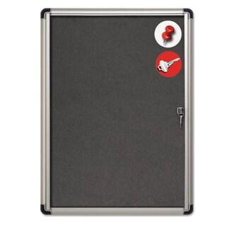 MasterVision Slim-Line Enclosed Fabric Bulletin Board 28 x 38 Aluminum Case