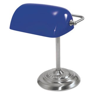Ledu Traditional Incandescent Banker's Lamp Blue Glass Shade 13-inch high Chrome Base