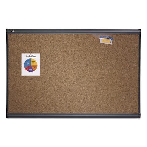 Quartet Prestige Bulletin Board Brown Graphite-Blend Surface 48 x 36 Aluminum Frame