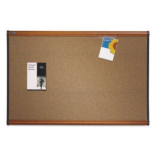 Quartet Prestige Bulletin Board Brown Graphite-Blend Surface 48 x 36 Cherry Frame