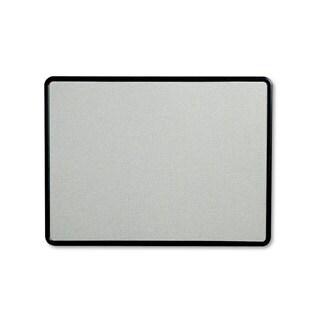 Quartet Contour Fabric Bulletin Board 48 x 36 Grey Surface Black Plastic Frame